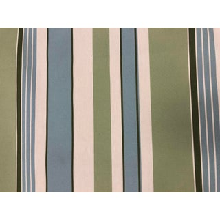 Green, Blue, White Woven Striped Fabric For Sale