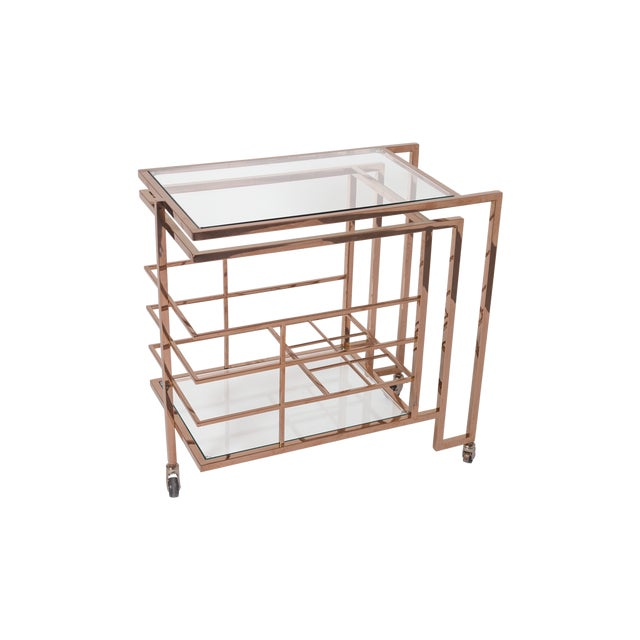 Art Deco Vintage Rose Gold Brass and Glass Bar Cart For Sale - Image 3 of 3