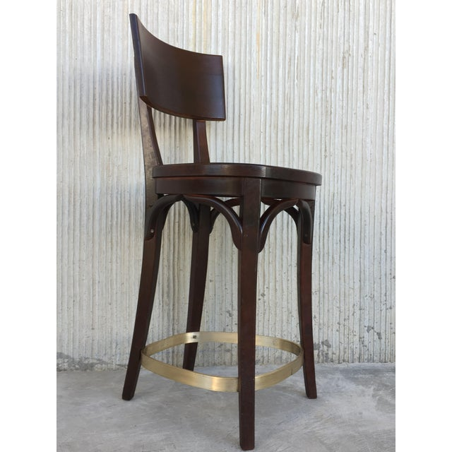 Metal Set of Six Caned Seat and Wood Back Bar Stools For Sale - Image 7 of 13