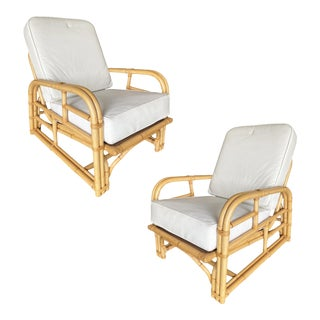 Restored Paul Lazslo Rattan Two Strand Lounge Chairs - a Pair For Sale