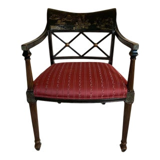 1970s Vintage Interior Crafts Regency Chinoiserie Lacquer Armchair For Sale