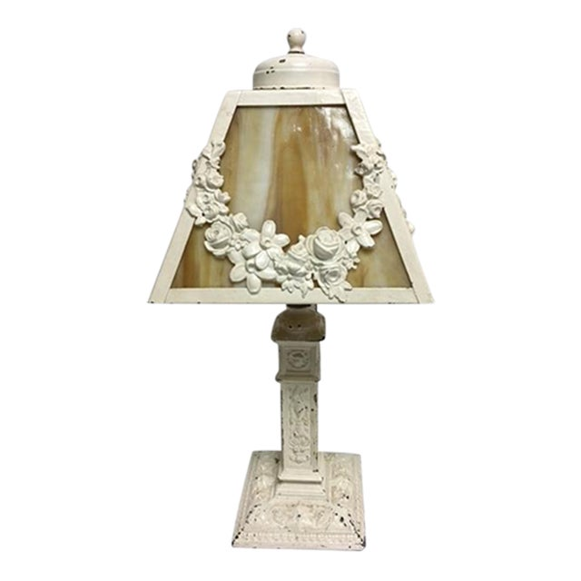 Charming Vintage Shabby Chic Slag Glass Lamp For Sale