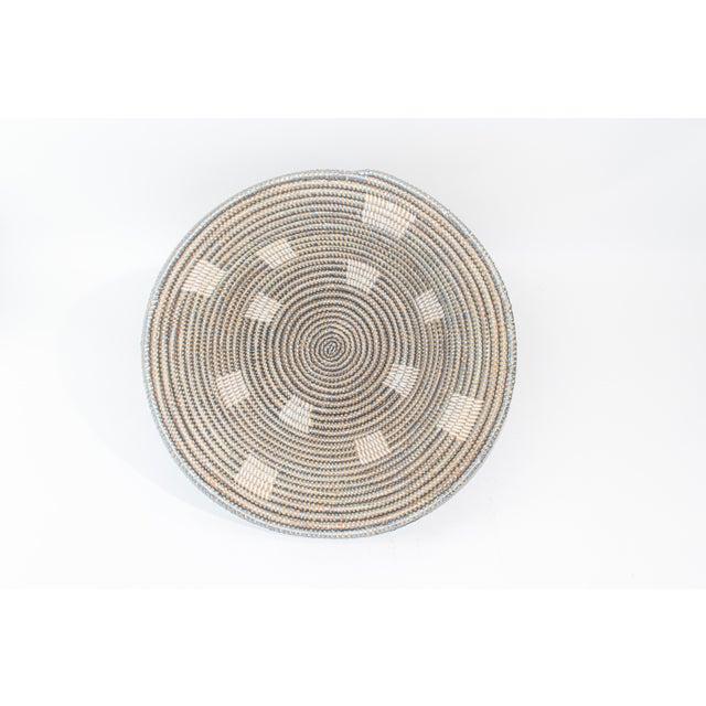 Artisan Made Gray Woven Fele Bowl Block Print For Sale - Image 4 of 4