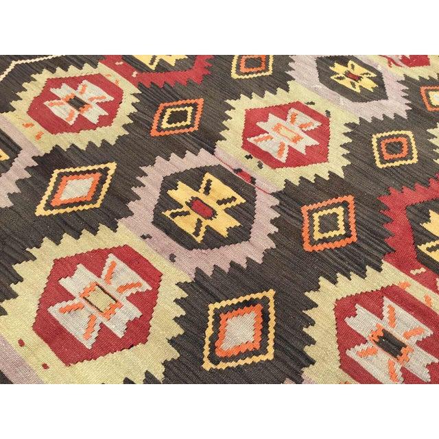 Textile Vintage Turkish Kilim Rug For Sale - Image 7 of 9