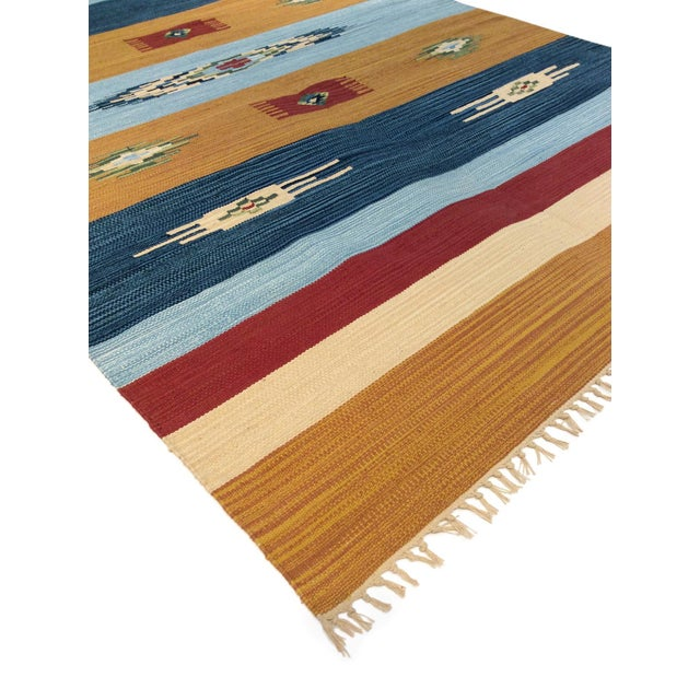 Contemporary Anatolian Hand-Woven Cotton Rug - 4' X 6' For Sale - Image 3 of 4