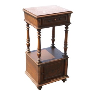 Antique Federal Style Marble Top One Drawer Nightstand