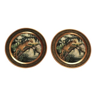 """Pickard Display Plate """"American Panther"""" by James L. Lockhart-a Pair For Sale"""