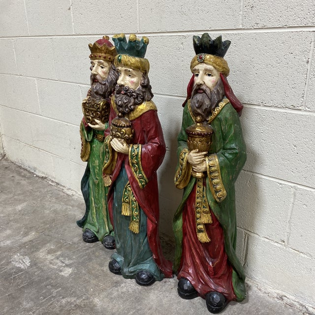Traditional Large Vintage Resin 3 Wisemen Kings For Sale - Image 3 of 13