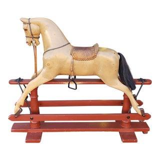 Antique English Edwardian Fh Ayres Carved Wood Platform Rocking Horse C1920s For Sale