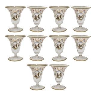 Enamelled Venetian Glass Short Stemmed Cordial Glasses, 1930s - Set of 10 For Sale