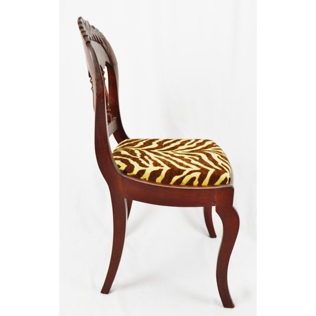 Vintage Victorian Style Side Chair With Animal Print Cushion For Sale In Philadelphia - Image 6 of 13