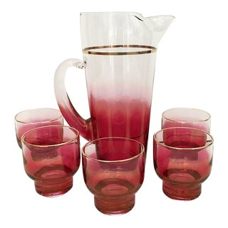 Vintage Iridescent Ombre Cranberry Colored Cocktail Set of 6 For Sale