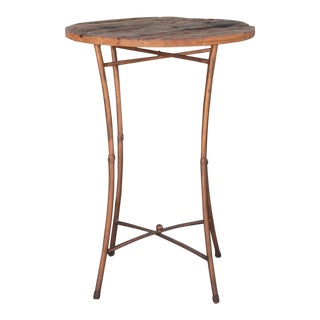 Rustic Wood and Metal Bar Side Table For Sale