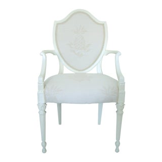 Antique French Upholstered Shield Back Side or Occasional Accent Armchair With Pineapples For Sale