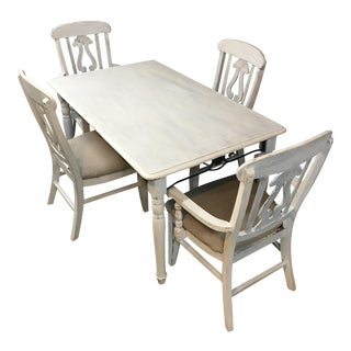 White Rustic Country Dining Table With Chairs