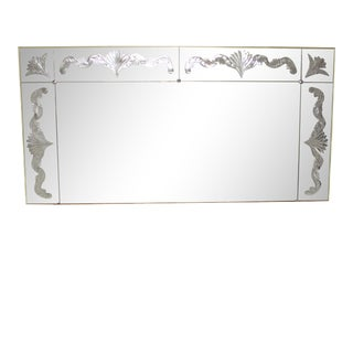 1940s Vintage French Art Deco Wall Mirror For Sale