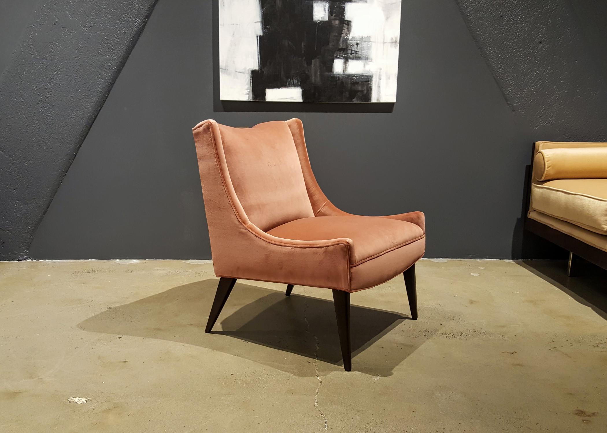 Harvey Probber Salmon Velvet Slipper Chair   Image 3 Of 7