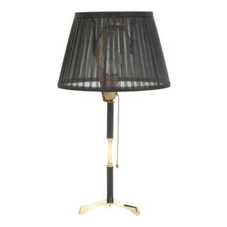 1960s Brass Table Lamp With Black Wood Details For Sale