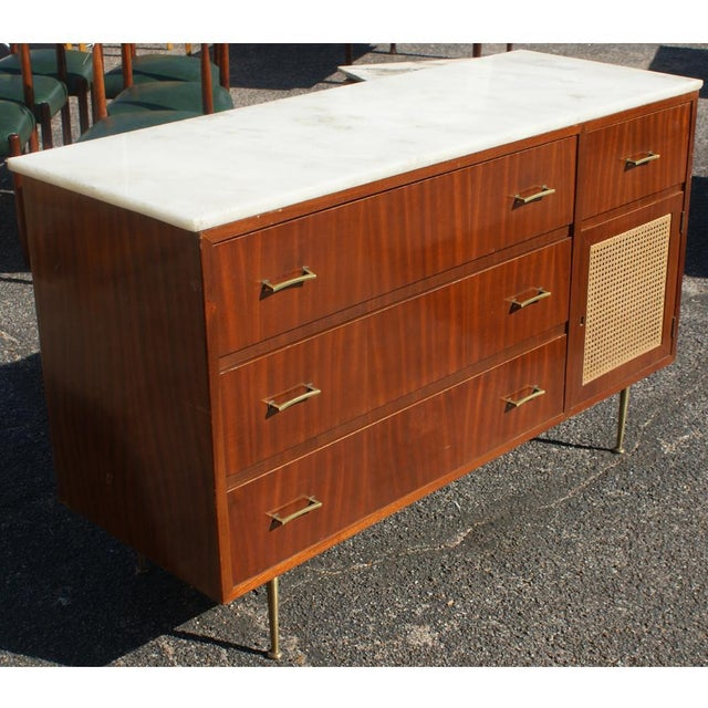 Mid 20th Century Vintage Cane Marble Dresser For Sale - Image 5 of 7