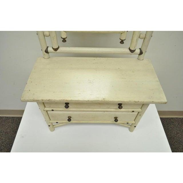 "30"" H Antique Arts & Crafts Salesman Sample Bentwood Painted Dresser & Mirror For Sale In Philadelphia - Image 6 of 11"