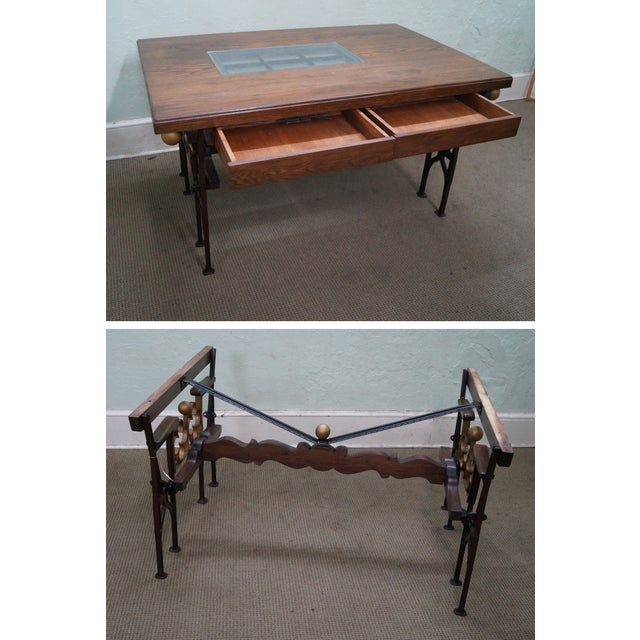 Hand Crafted Iron Base Gothic Writing Desk For Sale - Image 5 of 10