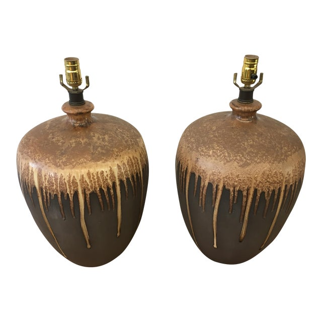 Mid-Century Modern Glazed Ceramic Lamps - A Pair For Sale