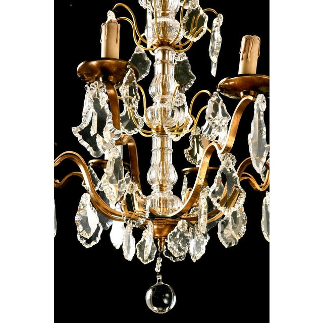 French Eight Light Brass, Glass & Crystal Chandelier, C.1920 - Image 9 of 9