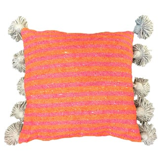 Coral & Blush Pompom Pillow Cover For Sale