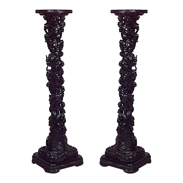 Asian Chinese Style Ebonized Carved Scroll Design Pedestals-A Pair For Sale