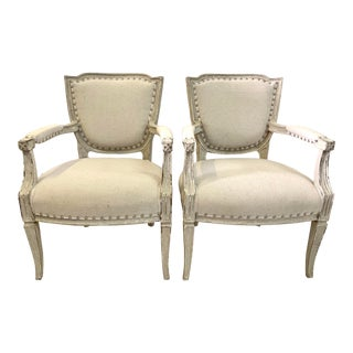 Swedish Painted Plaster Armchairs- A Pair For Sale