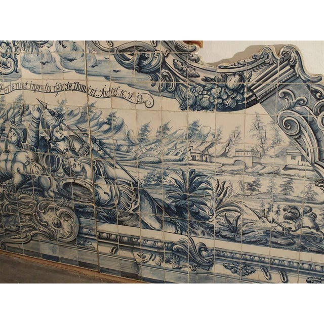 Monumental 3-Piece 18th Century Azulejo Mural Panel From Portugal For Sale - Image 9 of 13