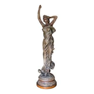 1910s Large Art Nouveau Bronze Alloy Female Nymph Scupture Lamp by Julien Caussé For Sale