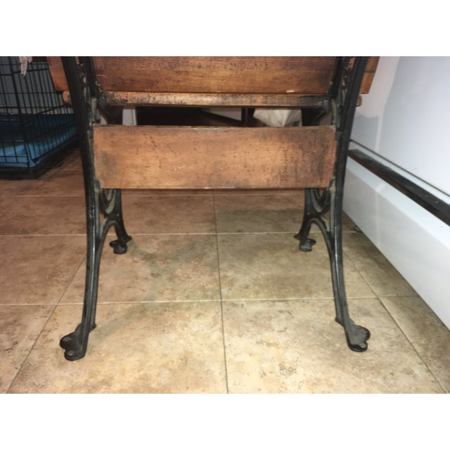 19th Century Americana Wood & Cast Iron Antique School Desk For Sale - Image 10 of 11