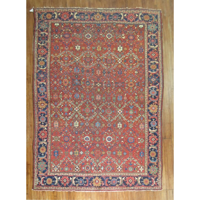 Hand-woven one of a kind Antique Persian mahal rug with a colorful all over design, circa 1930. Wool on wool, 100 %...