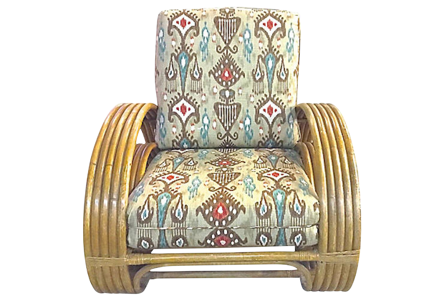 Early 20th Century Art Deco Style Rattan U0026 Ikat Club Chair For Sale