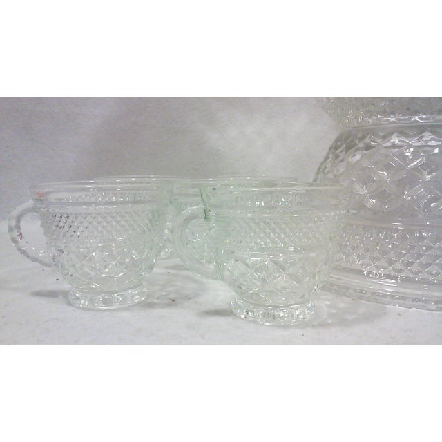 Pedestal Glass Serving Bowl and Cups - Set of 10 - Image 5 of 5