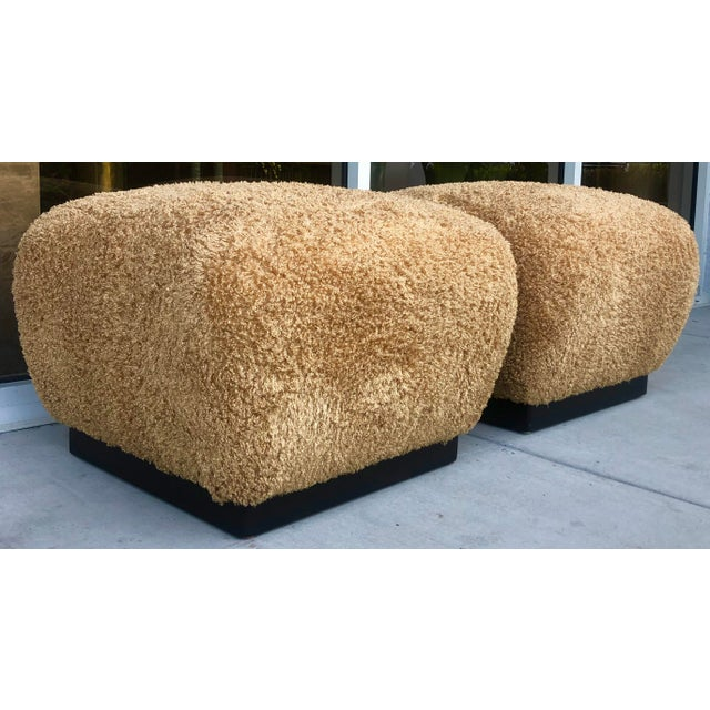 Mid-Century Modern Pair Marge Carson Large Ottomans For Sale - Image 3 of 9