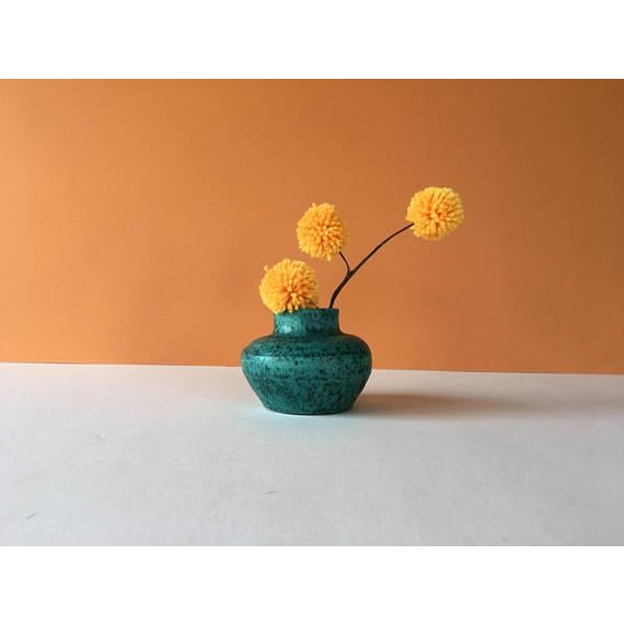 Boho Chic Vintage Chartreuse Green Stoneware Flower Vase For Sale - Image 3 of 6