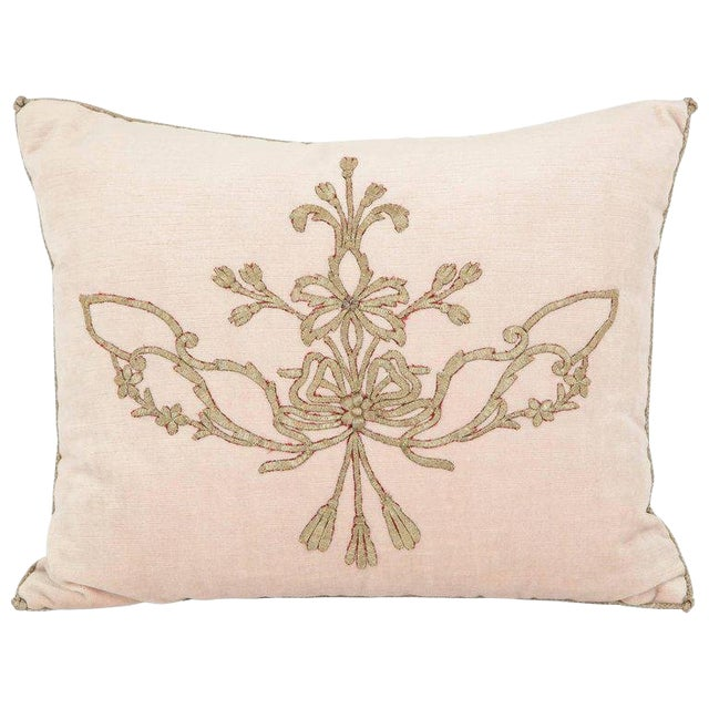 Early 21st Century Vintage Pillow With Antique Embroidery For Sale