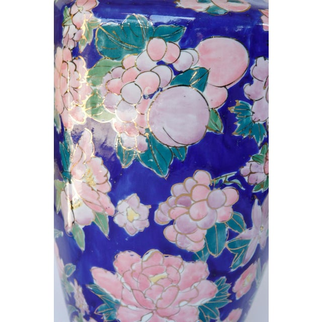 Mid-Century Modern Mid Century Blue Ceramic Vase With Bouquets of Pink Flowers Outlined in Gold For Sale - Image 3 of 8