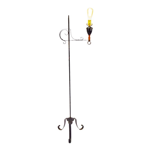 Vintage Arts & Crafts Mission Style Wrought Iron Adjustable Height Floor Lamp For Sale