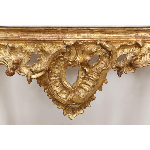 Gold Gilt Console With Custom Cut Marble Top For Sale - Image 11 of 12