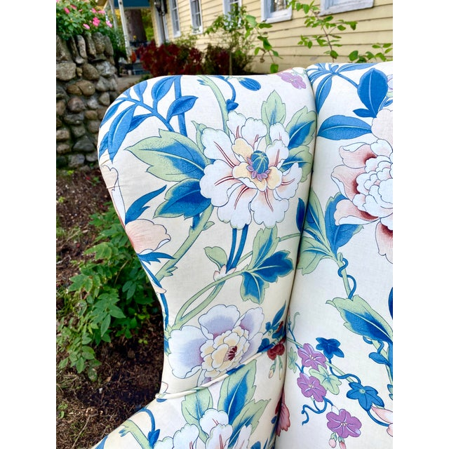 Large Scale English Wingback Chair in Peony Chintz For Sale - Image 4 of 13