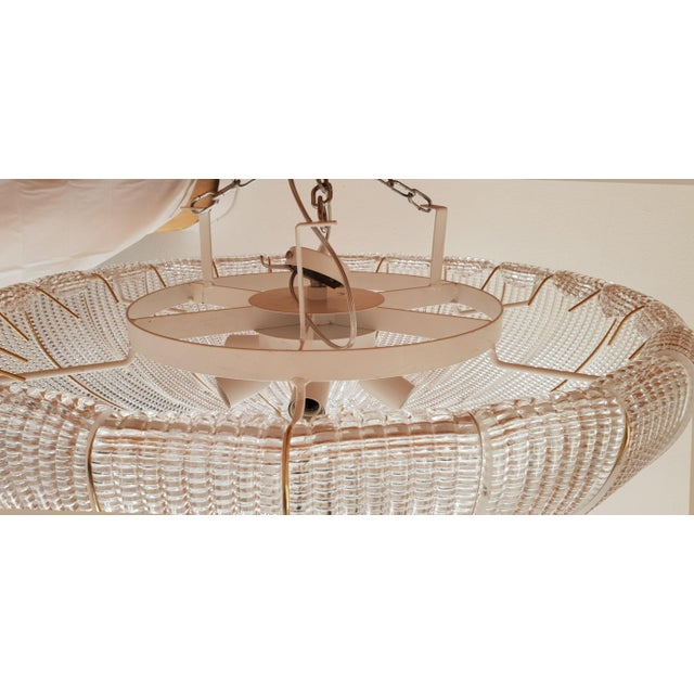 Large Mid-Century Modern Round Clear Murano Glass Flush Mount For Sale - Image 9 of 12