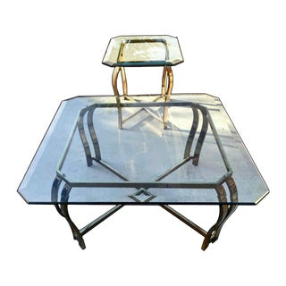 70s Italian Sculptural Polished Brass & Beveled Hexagonal Glass Tables - A Pair For Sale