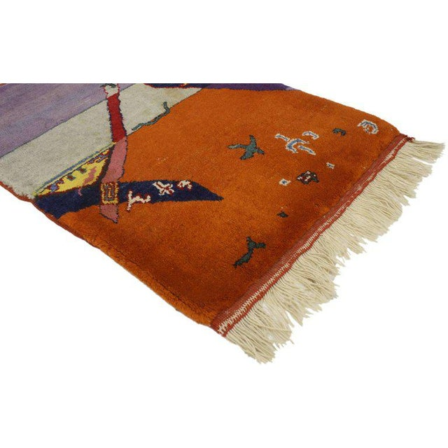 77096 Vintage Chinese Art Deco Rug Wall Hanging, Maximalist Surrealism Tapestry. Whether used as a wall hanging tapestry...