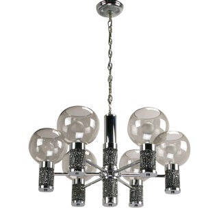 Chrome & Smoked Glass Chandelier With Foliate Relief Detail For Sale