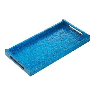 Blue Basket Weave Tray, Rectangle For Sale