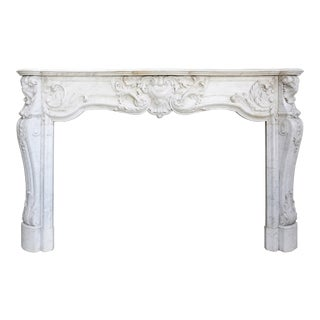 Antique Carrara Marble Fireplace, 19th Century, Louis XV For Sale