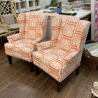 Vintage / Modern Wingback Chairs - Pair Preview